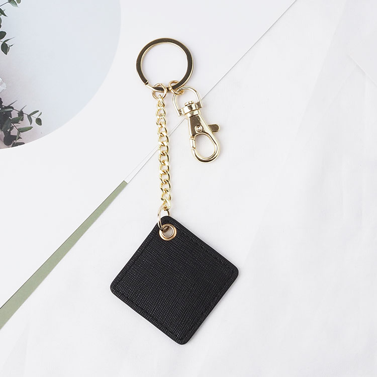 Manufacturer Genuine leather square shape keychain gift keyring