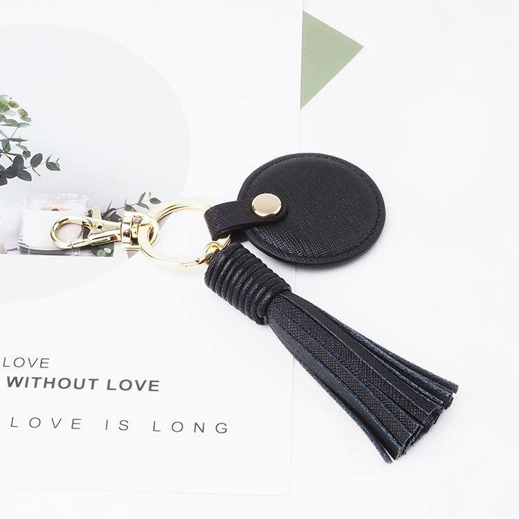 Personalized Custom Logo 100% High Quality Leather Tassel Keychain
