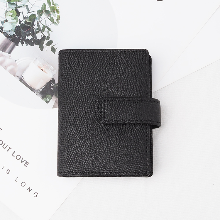 black saffiano Leather Card Holder with zipper for man