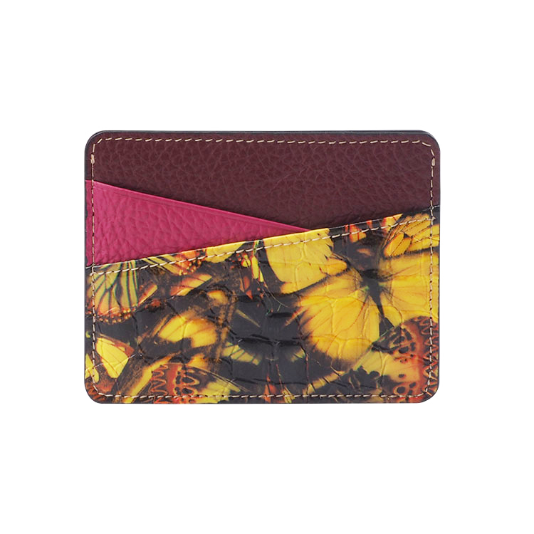 Fashion butterfly patent Leather Card Holder with two card slots