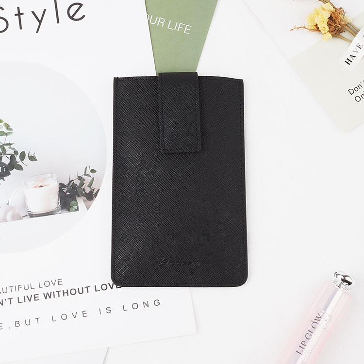 real leather long slim card holder with leather case