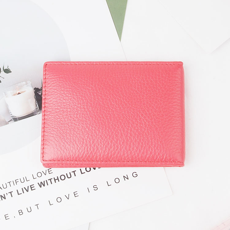 Hot sale pebble leather customized colorful pocket id credit card holder