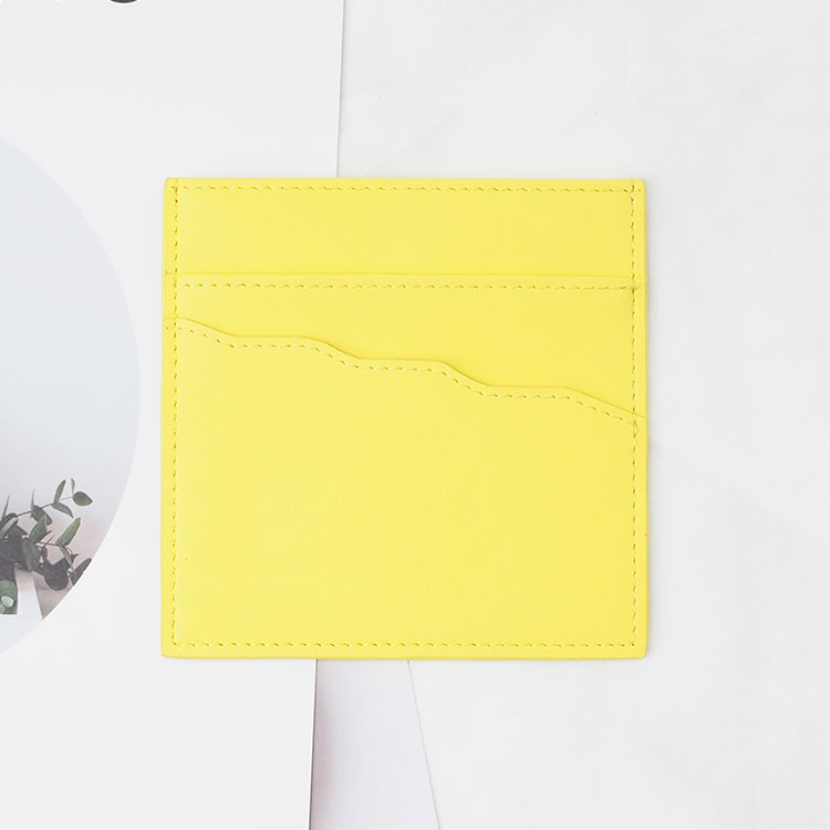 yellow genuine leather leather card holder women