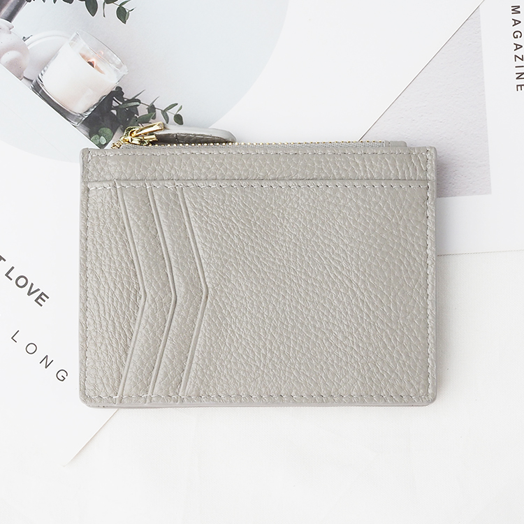 hot sale leather rfid blocking zipper coin pocket women leather card holder