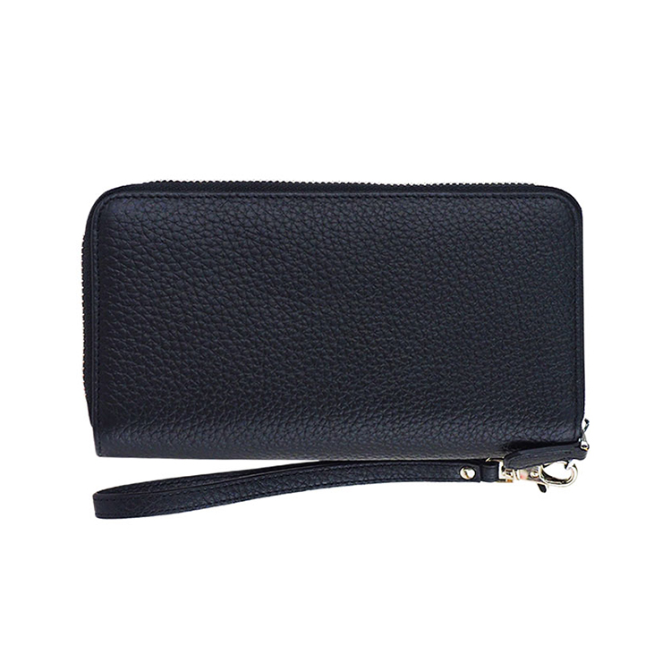 New arrival long style double zipper wallet with credit card slots fashion custom logo wallet full grain cow leather for men