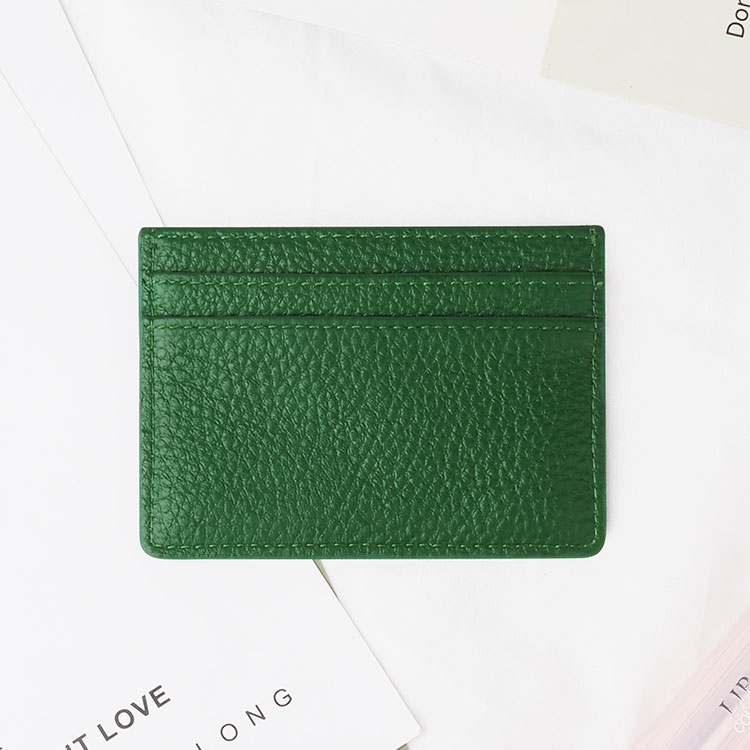 hot sales green  pebble Leather Card Holder