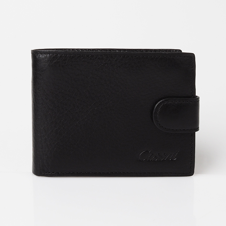 Cow Leather RFID Wallet Men Credit Card Holder Purse with Hasp