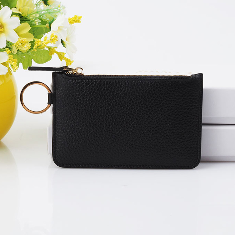 Custom Fashion Leather ID Card Holder Zipper Wallet with Keyring