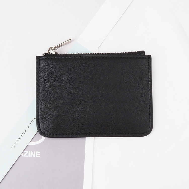 new design black nappa Leather Card Holder with zipper