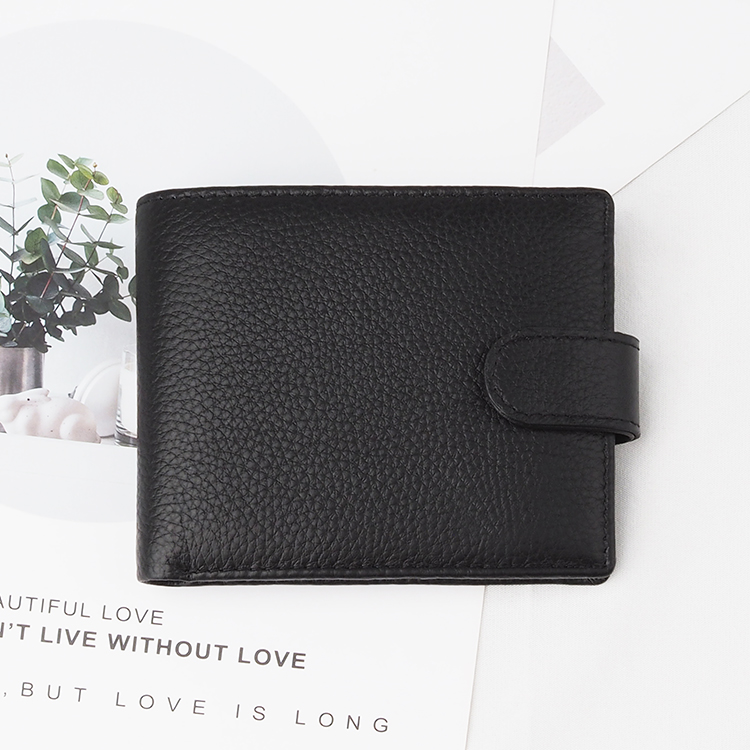 Custom Male Wallet Chinese Factory Black Top Grain Cow Leather Short Wallet for Men