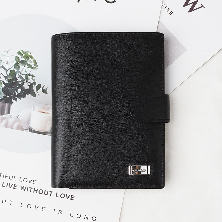 Top quality black genuine leather long style mens leather wallet with RFID blocking protect credit card