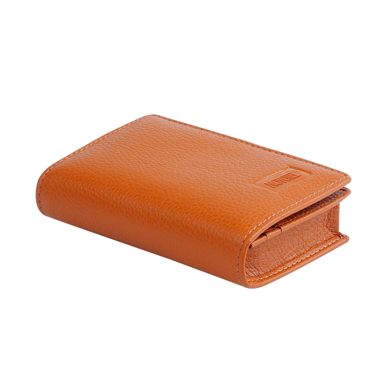 business oilwax Leather with popper closure Card Holder