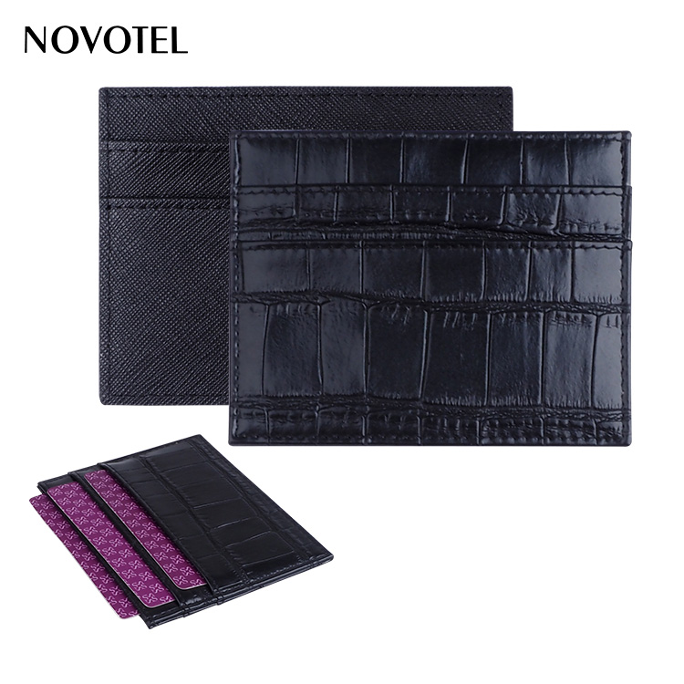 black crocodile Leather with three card slots Card Holder