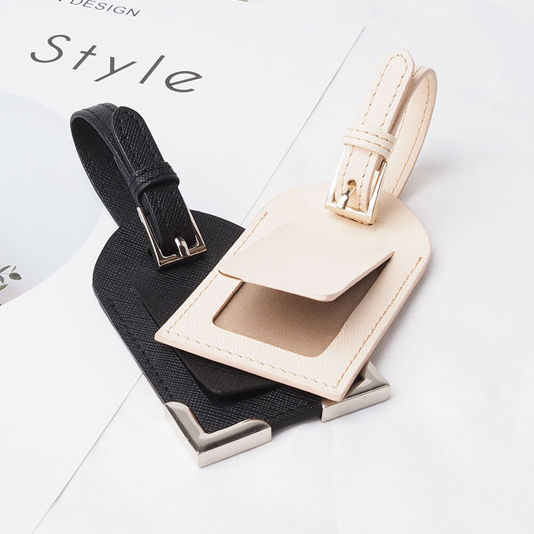 Hot selling Genuine Saffiano Leather Luggage Tag Travel Tag for Business Trip
