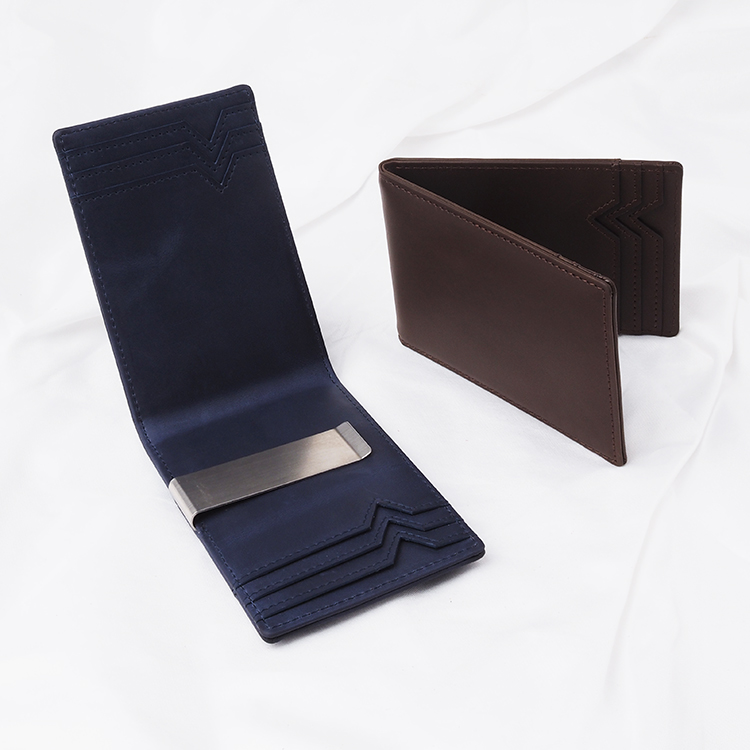 RFID Money Clip Wallet Genuine Leather Bag With Chain For Men