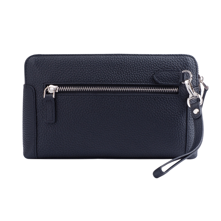 Full Cowhide leather zipper around grain Leather Wallet