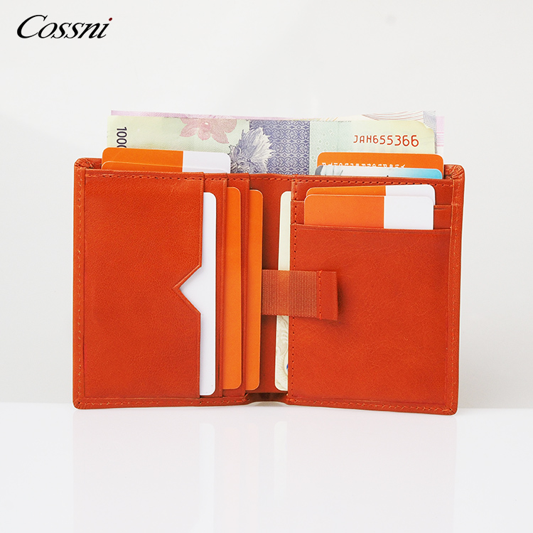 2020 Custom vegetable tanned leather purse italy leather wallet smart RFID money clip mens wallet