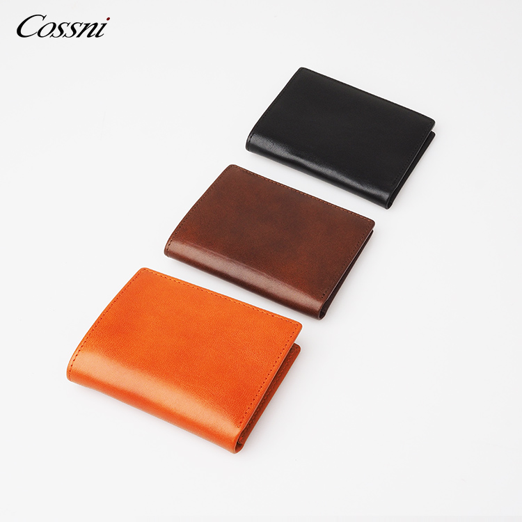2021 Custom vegetable tanned leather purse italy leather wallet smart RFID money clip mens wallet