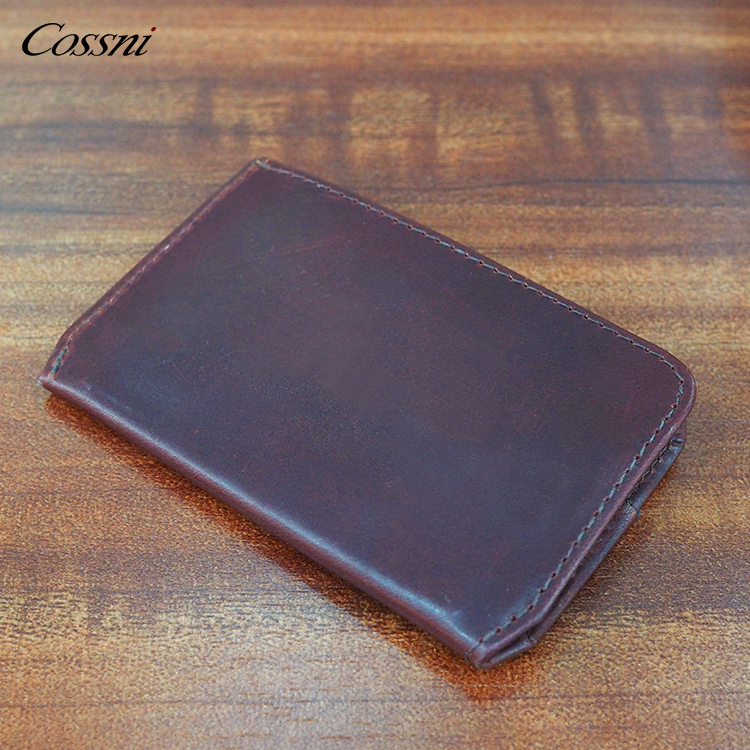 Custom Travel mini wallet vegetable tanned leather Man Wallet with Coin purses