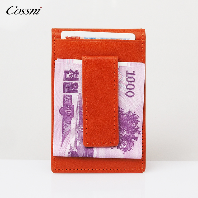 2020 new Bifold Slim italy leather wallet for men vegetable tanned leather purse with Money Clip