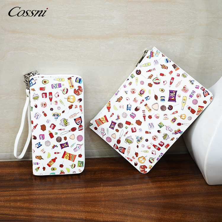 2020 new European fashion custom PU or Genuine Print Zip Clutch