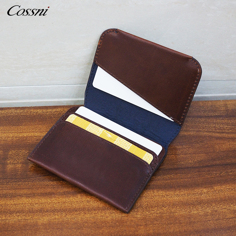 Luxury New custom wallet slim card holders italy vegetable tanned leather credit card case