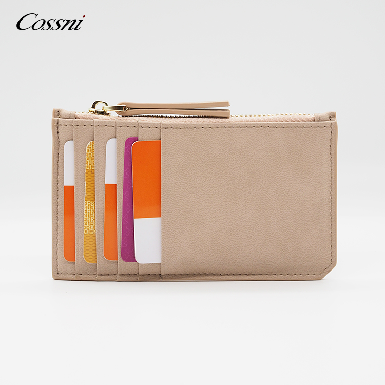 Microfiber leather mint color fashion card holder leather card holder zip wallet
