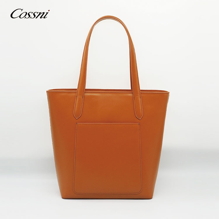 2020 New fashion custom print work large utility women plain genuine leather tote bag