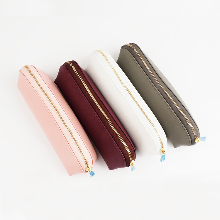 Custom Zipper genuine saffiano Genuine Leather Pencil Case