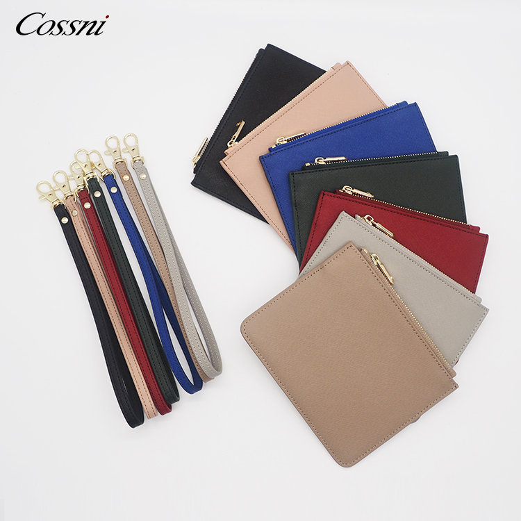 2020 Fashion Design Customized Genuine Saffiano Leather Lady Envelope Bag Zip Clutch Bags for woman