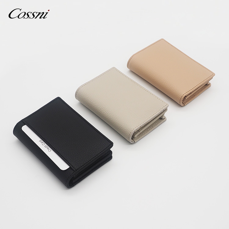 High Quality Full grain pebbled leather RFID function Card Holder coin purses