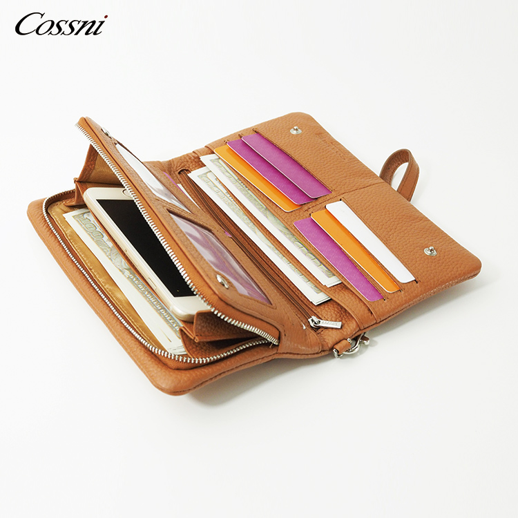 Wholesale Genuine leather Zip purses multi-function RFID Men's Leather Wallet