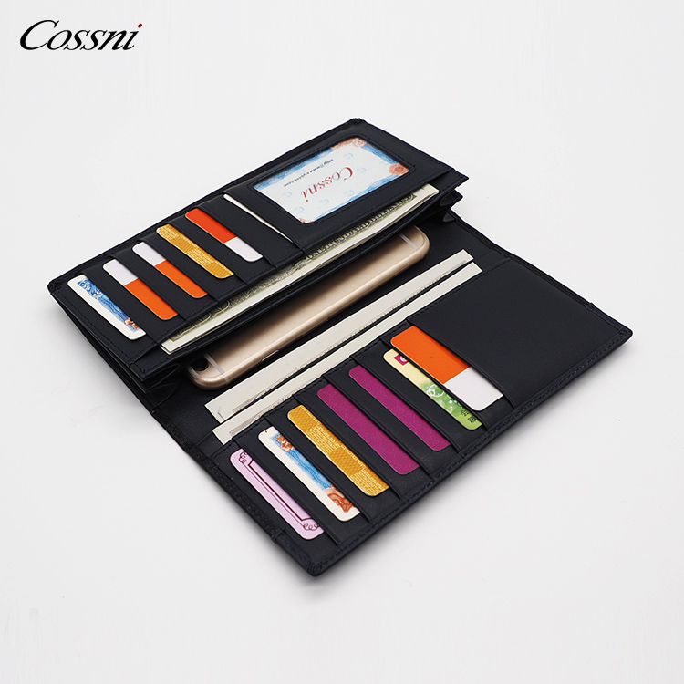Wholesale smooth soft Genuine leather long wallet, fashion passport holder wallet
