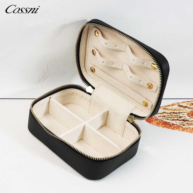 Wholesale genuine leather travel jewelry case for women