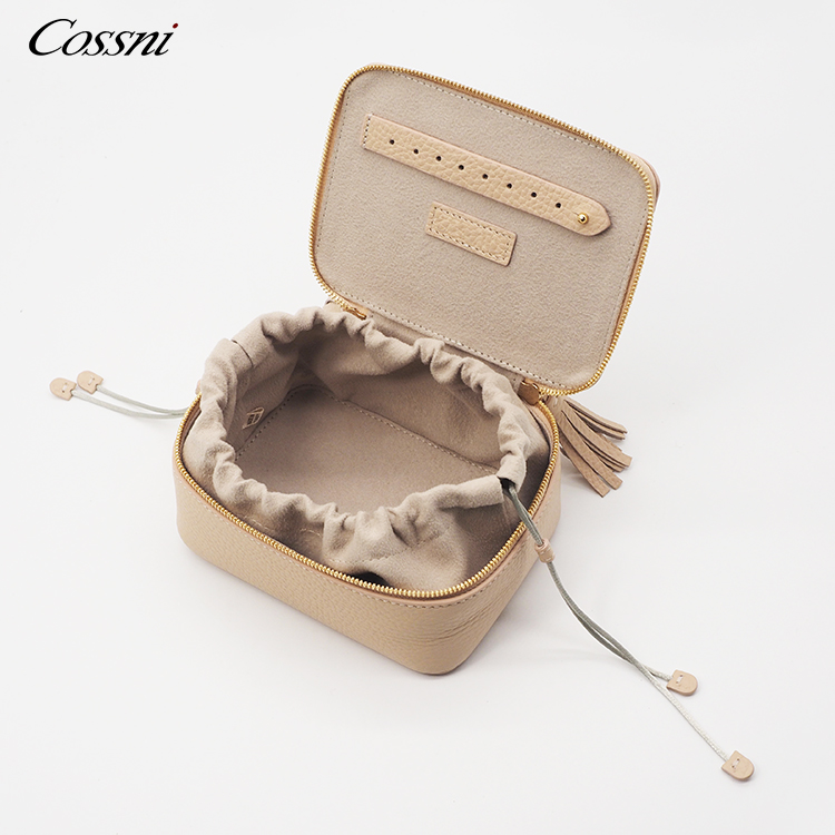 Small zippered travel case full grain leather jewellery box women jewelry case