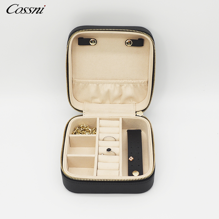 Small Custom Logo PU Leather Portable Travel Jewelry Organizer Case Bags Mini Bracelet Ring Earring Box Case Bag with Zipper