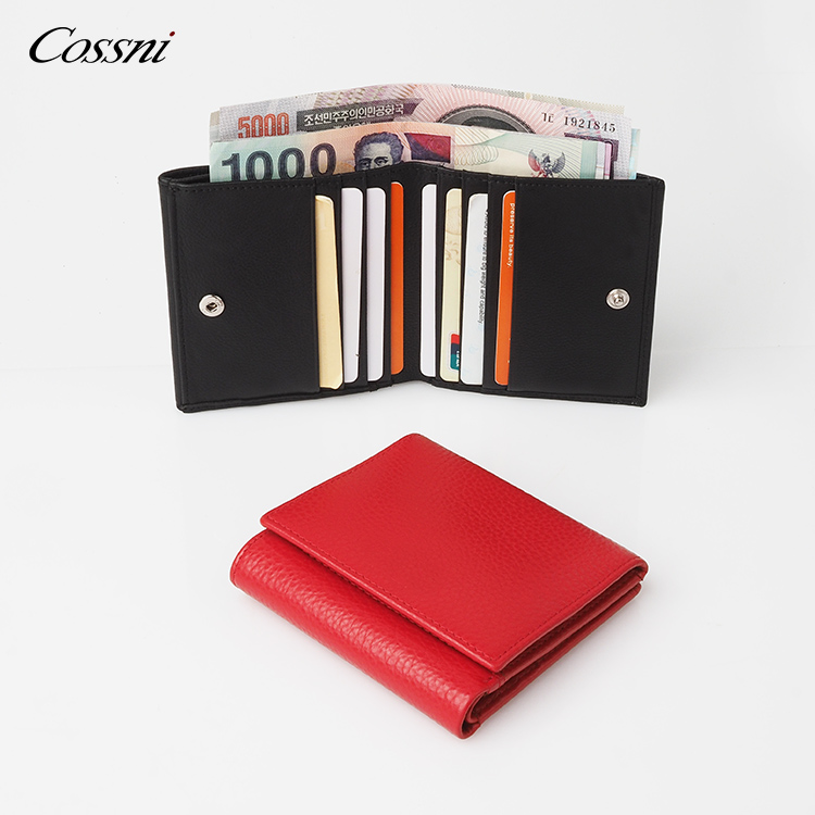 coin pocket wallet full grain genuine cow leather RFID leather mens bifold wallet