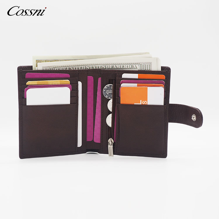 Men's Genuine Leather Short around Bifold RFID Wallet